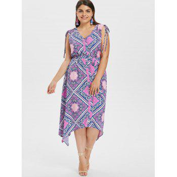 Plus Size Geometric Pattern Asymmetrical Dress - PURPLE FLOWER 2X
