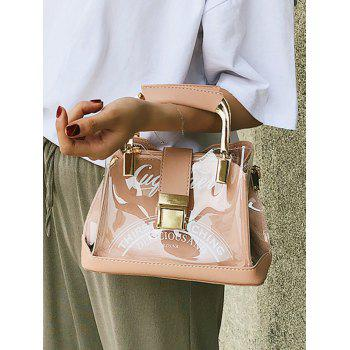 Chic PU Leather Lucid Letter Print Handbag - ORANGE PINK