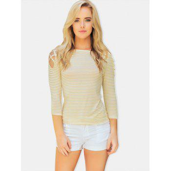 Stripe Cold Shoulder Casual Tee - YELLOW XL