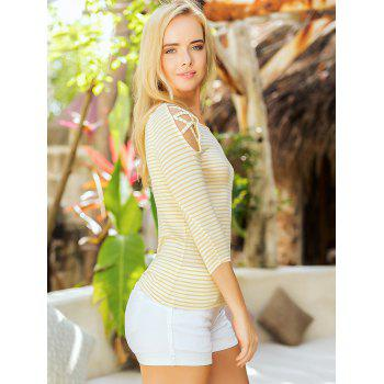 Stripe Cold Shoulder Casual Tee - YELLOW S