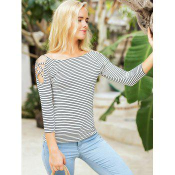 Stripe Cold Shoulder Casual Tee - BLACK XL
