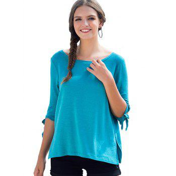Round Neck Bow Tie Sleeves Tee - BUTTERFLY BLUE XL