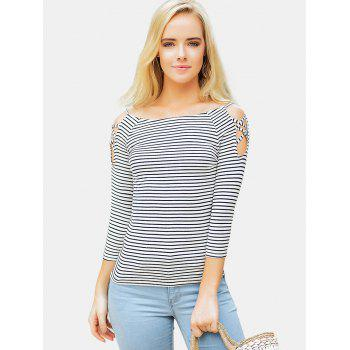 Stripe Cold Shoulder Casual Tee - BLACK M