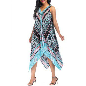 Vintage Printed Asymmetric Sleeveless Summer Dress - LIGHT SKY BLUE XL