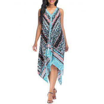 Vintage Printed Asymmetric Sleeveless Summer Dress - LIGHT SKY BLUE L