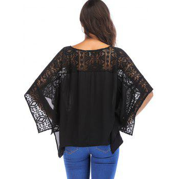 Round Neck Lace Batwing Sleeve Loose Blouse - BLACK S