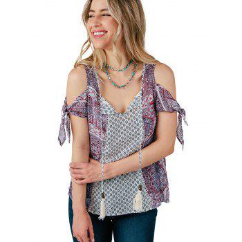 Bow Tie Sleeve Printed Blouse - multicolor A L