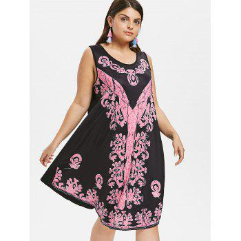 Plus Size Contrast Print Sleeveless Dress - BLACK L