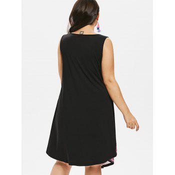 Plus Size Contrast Print Sleeveless Dress - BLACK 2X