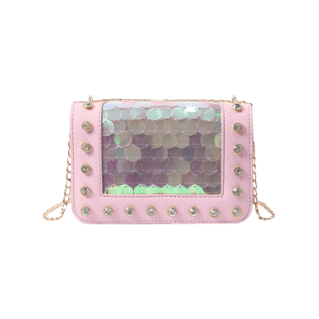 Sequins Crystals Chic PU Leather Crossbody Bag - LIGHT PINK