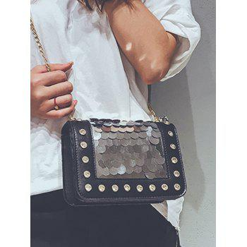 Sequins Crystals Chic PU Leather Crossbody Bag - BLACK