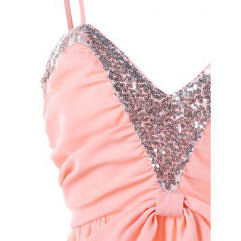 Sequin Insert Prom Dress - PINK XL