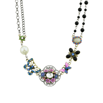 Flower Butterfly Design Faux Pearl Rhinestone Necklace - SILVER