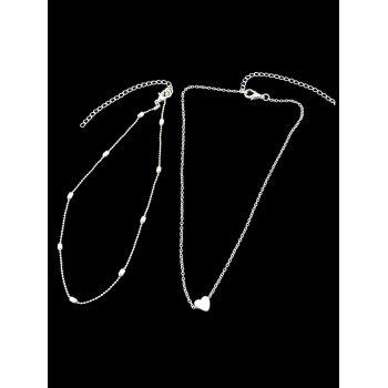 Heart Shape Design Layered Necklace - SILVER