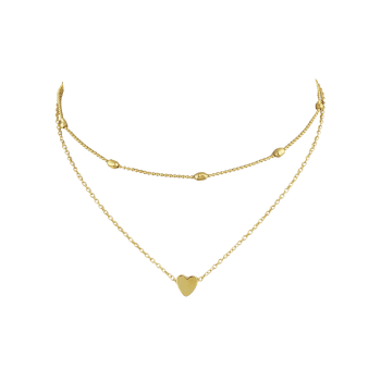 Heart Shape Design Layered Necklace - GOLD