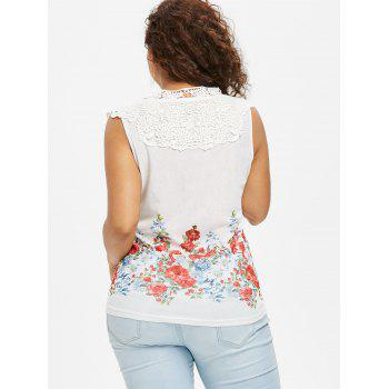 Plus Size Floral Guipure Panel Tank Top - WHITE 2X