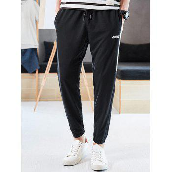 Letter Print Color Block Drawstring Jogger Pants - WHITE M