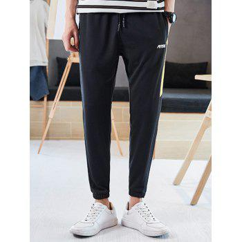Letter Print Color Block Drawstring Jogger Pants - BRIGHT YELLOW M