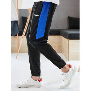Letter Print Color Block Drawstring Jogger Pants - DEEP BLUE XS