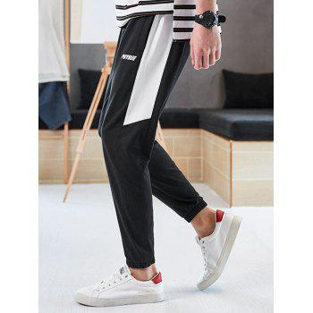 Letter Print Color Block Drawstring Jogger Pants - WHITE XS