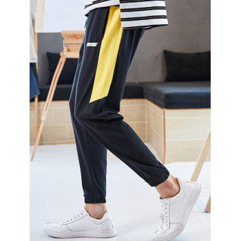 Letter Print Color Block Drawstring Jogger Pants - BRIGHT YELLOW XS