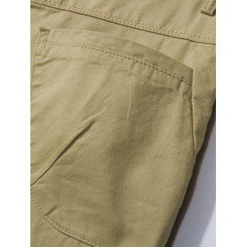 Zipper Fly Check Print Panel Bermuda Shorts - LIGHT KHAKI 2XL