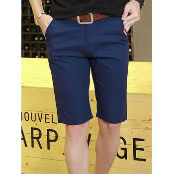 Zipper Fly Check Print Panel Bermuda Shorts - DEEP BLUE XL