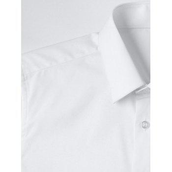 Slim Fit Solid Color Button Up Business Shirt - WHITE L