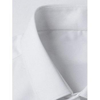Solid Color Button Up Slim Fit Shirt - WHITE L