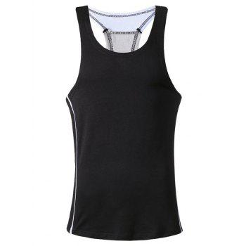 Color Block Patchwork Sports Tank Top - WHITE S