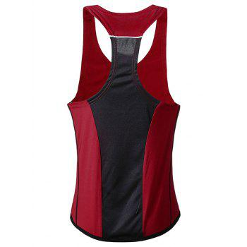Color Block Patchwork Sports Tank Top - RED L