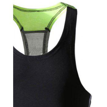 Color Block Patchwork Sports Tank Top - CHARTREUSE M