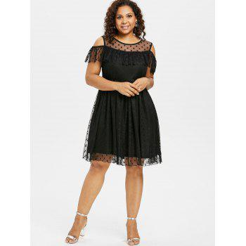 Ruffle Insert Plus Size Fit and Flare Dress - BLACK 2X