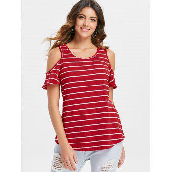 Striped Open Shoulder T-shirt - RED S