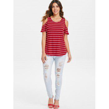 Striped Open Shoulder T-shirt - RED XL