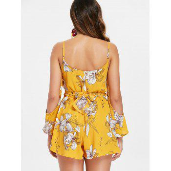 Front Cut Out Self Tie Floral Romper - YELLOW S