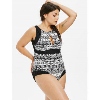 Plus Size Ethnic Open Back Swimsuit - BLACK 3X