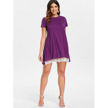 Lace Panel Shift Dress - PURPLE 2XL