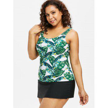 Banana Leaf Plus Size Tankini Set - MACAW BLUE GREEN 1X
