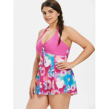 Plus Size Flower Empire Waist Swimsuit - ROSE RED 3X