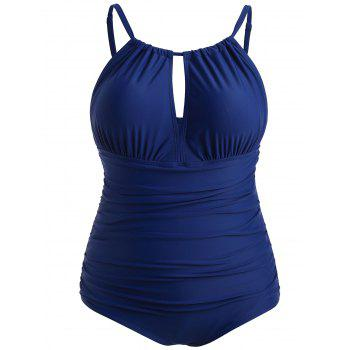 Plus Size Ruched Open Back Swimsuit - COBALT BLUE L