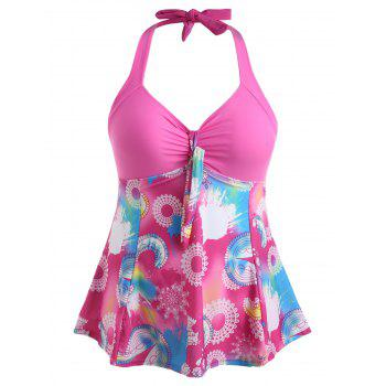 Plus Size Flower Empire Waist Swimsuit - ROSE RED 1X