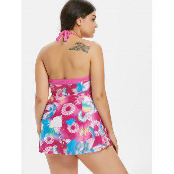 Plus Size Flower Empire Waist Swimsuit - ROSE RED 4X