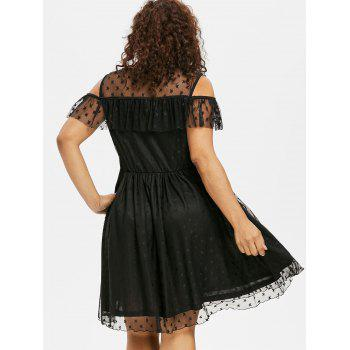 Ruffle Insert Plus Size Fit and Flare Dress - BLACK 5X