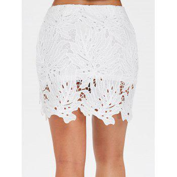 Leaf Pattern High Waist Lace Skirt - WHITE XL