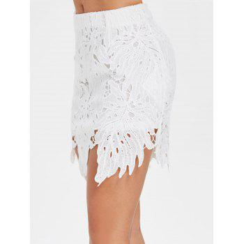 Leaf Pattern High Waist Lace Skirt - WHITE 2XL