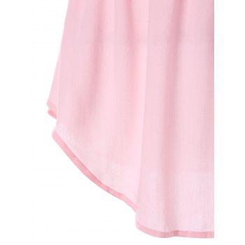 Lace Insert Tank Top with Elastic Waist - LIGHT PINK XL