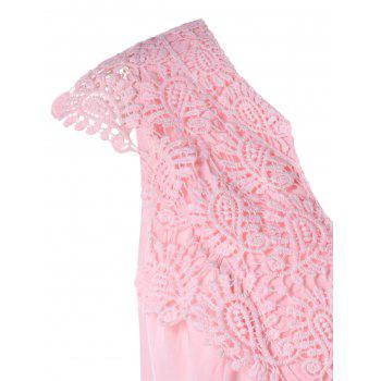 Lace Insert Tank Top with Elastic Waist - LIGHT PINK M