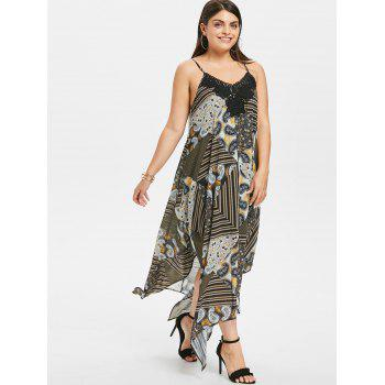 Plus Size Paisley Flowing Handkerchief Hem Dress - multicolor 3X