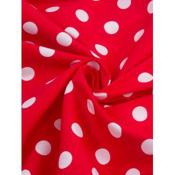 Polka Dot Insert Sweetheart Neck Swing Dress - RED 2XL